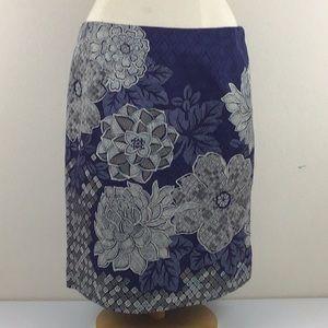 Talbots ⛩ Petite Blue Floral Skirt 32 Waist